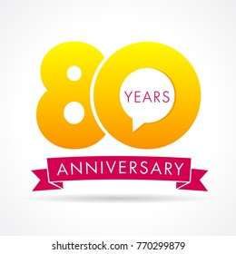 80 years anniversary communication logo. 80th year birthday logotype label, yellow vector number sign and pink ribbon isolated