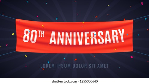 80 years anniversary design celebration. Red flag anniversary bithday decoration party event 80th.