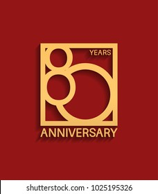 80 years anniversary design logotype golden color in square isolated on red background for celebration event