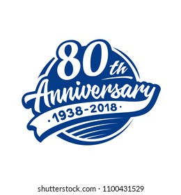 80 years anniversary design template. Vector and illustration. 80th logo.
