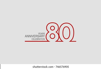 80 years anniversary linked logotype with red color isolated on white background for company celebration event