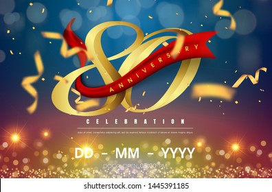 80 years anniversary logo template on gold and blue background. 80th celebrating golden numbers with red ribbon vector and confetti isolated design elements