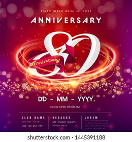 80 years anniversary logo template on red and pink  futuristic space background. 80th modern technology design celebrating numbers with Hi-tech network digital technology concept design elements