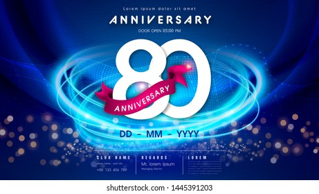 80 years anniversary logo template on dark blue Abstract futuristic space background. 80th modern technology design celebrating numbers with Hi-tech network digital technology concept design elements.