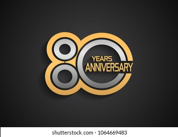 80 years anniversary logotype with multiple line silver and golden color isolated on black background for celebration event