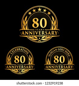 80 years anniversary set. 80th celebration logo collection. Vector and illustration.