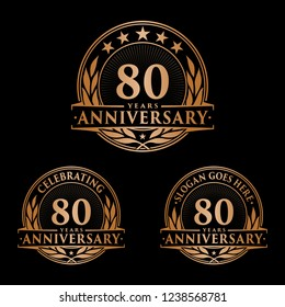 80 years anniversary set. 80th celebration logo collection. Vector and