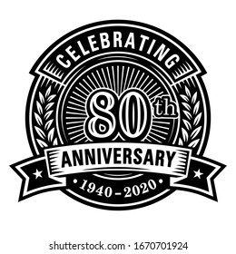 80 years of celebrations design template. 80th logo. Vector and illustrations.