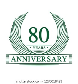 80 years design template. 80th anniversary. Vector and illustration.
