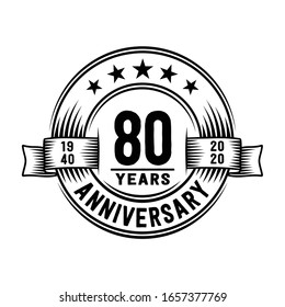 80 years logo design template. 80th anniversary vector and illustration.