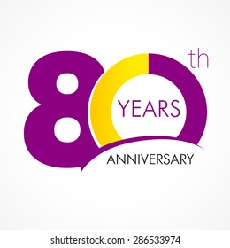 80 years old celebrating classic logo. Colored happy anniversary 80 th template numbers. Greetings celebrates. Traditional framed digits of ages. Special prize, % off, O or 0. Card's or label's idea.
