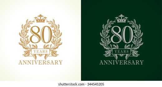 80 years old luxurious logotype. Congratulating 80th numbers gold colored template framed in palms. Isolated greetings celebrates. Celebrating traditional eighty in branches. Eight, 8th win place.