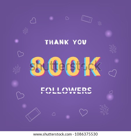 800 K Followers Thank You Card Celebration Stock Vector Royalty
