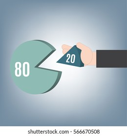 80-20 rule, Business hand with Pareto graph, vector illustration in flat design with business theme background