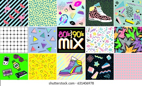 80's, 90's Mix. Abstract seamless background and element in eighties and nineties style. Retro style 80's disco design. 80s party, fashion, background, graphic, 80s style, light disco party.