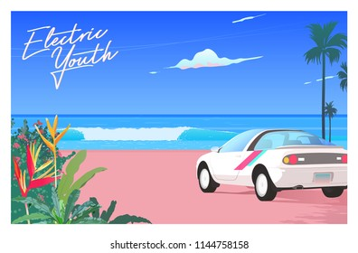80's - 90's style beach paradise and car in 1990 style, nostalgic vaporwave illustration template.