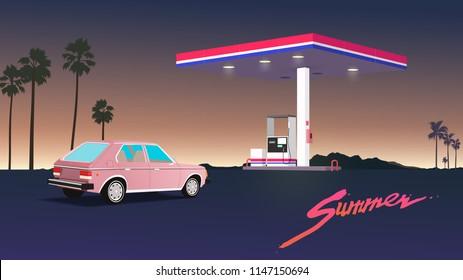 80's - 90's style desert gas station and vintage car. nostalgic vaporwave illustration template.