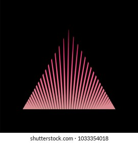 80s 90s style logotype. Hipster triangle made of beams and rays in neon pink colors.