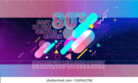 80s alphabet retro banner. Old style poster. Retro style disco party 1980, 80's fashion, background, neon style, vintage dance night. Club 80's, 90's vintage. Easy editable cover template.