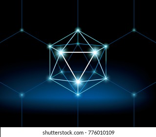 80s background. Blockchain and ICO illustration concept. Mysterious wallpaper with 3D hexahedron. Virtual low polygonal sphere with glow. Futuristic style background.