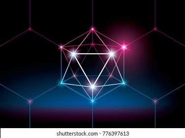 80s background. Low polygonal sphere with glow. Futuristic style background. Mysterious wallpaper with 3D hexahedron. Blockchain illustration concept.