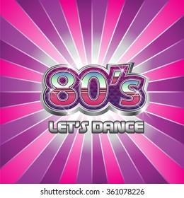 80s Dance Party illustration. Vector graphic design