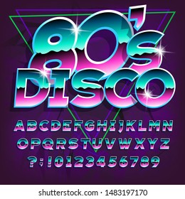 80s Disco alphabet font. Letters and numbers on dark abstract background. Stock vector typescript for your typography in retro 80s style.