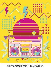 80s disco funky colorful music design