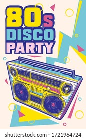 80s disco party funky colorful music design