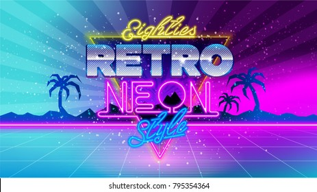 80's. Eighties retro neon style. Ultra Violet vintage style disco design. 80's fashion party, vector background vintage graphic style. Miami party 1980 club dance night. Eighties video and music mix.