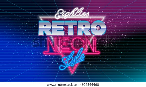 80s eighties retro neon style 600w 604544468