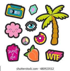 80s Fashion vector pop art patches, pins, badges and stickers