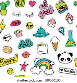80s Fashion vector seamless pattern with pop art patches, pins, badges and stickers