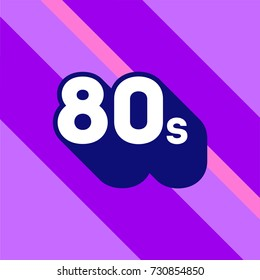 80s logo design. 1980s sign with long shadow. Number ninety. Vector element.