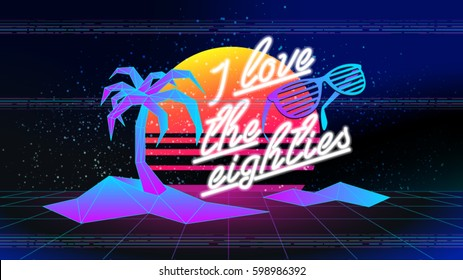 80s, I love the eighties. Retro style disco design neon. 80's party, 80's fashion, 80s background, 80s graphic, 80s style, disco party 1980, club vintage, dance night. Easy editable for design.