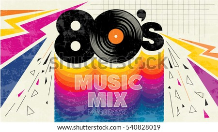 80 S Music Mix Retro Style 80 S Stock Vector Royalty Free
