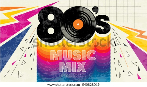 80s Music Mix Retro Style 80s Stock Vector (Royalty Free) 540828019
