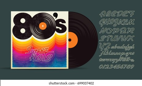 80's music mix. Super hits. Vintage retro font. Fashion, graphic background style. Disco party 1980, dance night night. Radio popular playlist. Easy editable for Your design.