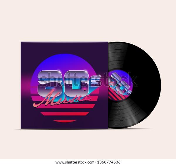 80s Music Vinyl Disc Cover Mockup Stock Vector (Royalty Free