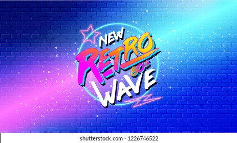 80s, New Retro Wave banner or cover. Old style vector poster. Disco fluorescent neon style for eighties party. 1980 Fashion background easy editable future template