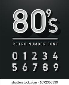 80's Number vintage sans serif alphabet. Retro typography font classic style