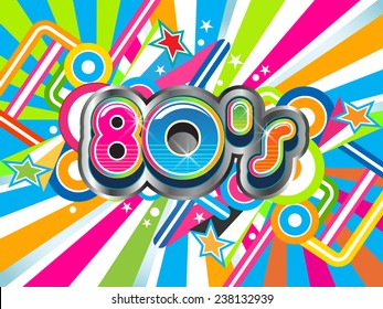 80s Party illustration logo. Vector design