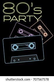 80s Party - Neon Sign With Audio Cassette Tapes