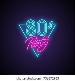 80s patry neon banner. Vector illustration.
