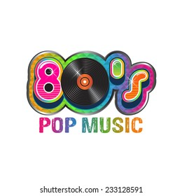 80s pop music logo. Vector design