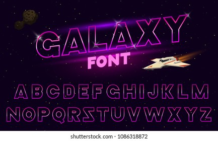 80's purple neon retro font. Futuristic chrome letters. Bright Alphabet on dark background. Light Symbols Sign for night show in club. concept of galaxy space. Set of types. Outlined version.