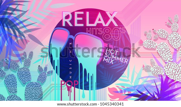 80s Relax 80 Hot Summer Mix Stock Vector (Royalty Free