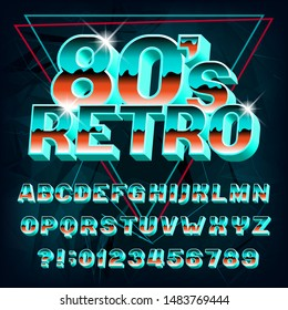80s Retro alphabet font. 3D effect letters and numbers on abstract background. Stock vector typeface for your typography in retro 80s style.