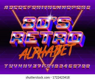 80s Retro alphabet font. 3D retro letters and numbers. Stock vector typescript in 80s style for your typography design.