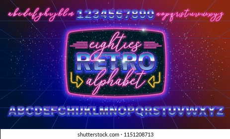 80s, retro alphabet font banner or cover. Old style vector poster. Disco fluorescent neon style for eighties party. 1980 fashion background easy editable template for event.